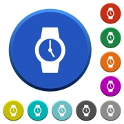 Watch round color beveled buttons with smooth surfaces and flat white icons - Watch beveled buttons