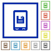 Mobile save data flat color icons in square frames on white background - Mobile save data flat framed icons