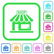 Store front vivid colored flat icons in curved borders on white background - Store front vivid colored flat icons