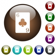 Six of clubs card white icons on round color glass buttons - Six of clubs card color glass buttons