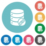 Database attachment flat white icons on round color backgrounds - Database attachment flat round icons