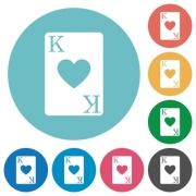 King of hearts card flat white icons on round color backgrounds - King of hearts card flat round icons