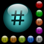 Hash tag icons in color illuminated spherical glass buttons on black background. Can be used to black or dark templates