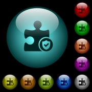 Plugin protected icons in color illuminated spherical glass buttons on black background. Can be used to black or dark templates - Plugin protected icons in color illuminated glass buttons