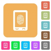 Mobile fingerprint identification flat icons on rounded square vivid color backgrounds. - Mobile fingerprint identification rounded square flat icons