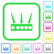 Wireless router vivid colored flat icons in curved borders on white background - Wireless router vivid colored flat icons