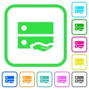 Shared drive vivid colored flat icons in curved borders on white background - Shared drive vivid colored flat icons