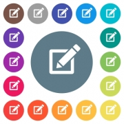 Editing box with pencil flat white icons on round color backgrounds. 17 background color variations are included. - Editing box with pencil flat white icons on round color backgrounds