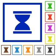 Hourglass flat color icons in square frames on white background - Hourglass flat framed icons