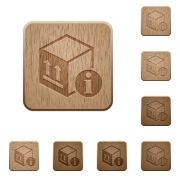 Package information on rounded square carved wooden button styles - Package information wooden buttons