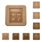 Pocket calculator on rounded square carved wooden button styles - Pocket calculator wooden buttons