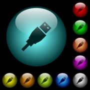 USB plug icons in color illuminated spherical glass buttons on black background. Can be used to black or dark templates - USB plug icons in color illuminated glass buttons