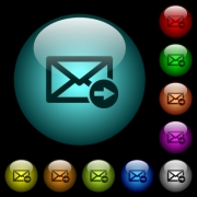 Mail forwarding icons in color illuminated spherical glass buttons on black background. Can be used to black or dark templates - Mail forwarding icons in color illuminated glass buttons
