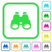Binoculars vivid colored flat icons in curved borders on white background - Binoculars vivid colored flat icons