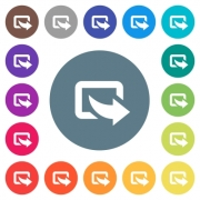 Export symbol with bottom right arrow flat white icons on round color backgrounds. 17 background color variations are included. - Export symbol with bottom right arrow flat white icons on round color backgrounds