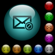 Forbidden mail icons in color illuminated spherical glass buttons on black background. Can be used to black or dark templates - Forbidden mail icons in color illuminated glass buttons