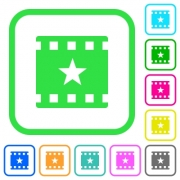 Mark movie vivid colored flat icons in curved borders on white background - Mark movie vivid colored flat icons