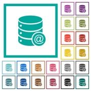 Database email flat color icons with quadrant frames on white background - Database email flat color icons with quadrant frames