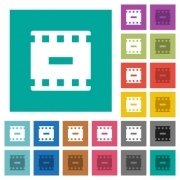 Remove movie multi colored flat icons on plain square backgrounds. Included white and darker icon variations for hover or active effects. - Remove movie square flat multi colored icons - Large thumbnail