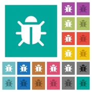 Computer bug multi colored flat icons on plain square backgrounds. Included white and darker icon variations for hover or active effects. - Computer bug square flat multi colored icons - Large thumbnail