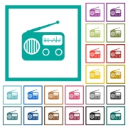 Vintage retro radio flat color icons with quadrant frames on white background - Vintage retro radio flat color icons with quadrant frames