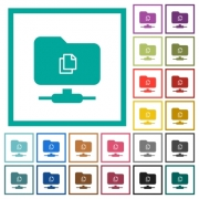 Copy remote file on FTP flat color icons with quadrant frames on white background - Copy remote file on FTP flat color icons with quadrant frames