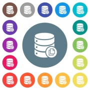 Copy database flat white icons on round color backgrounds. 17 background color variations are included. - Copy database flat white icons on round color backgrounds