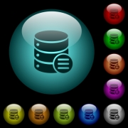 Database options icons in color illuminated spherical glass buttons on black background. Can be used to black or dark templates - Database options icons in color illuminated glass buttons