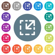 Resize element flat white icons on round color backgrounds. 17 background color variations are included. - Resize element flat white icons on round color backgrounds