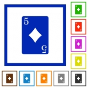 Five of diamonds card flat color icons in square frames on white background - Five of diamonds card flat framed icons