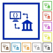 Open banking API flat color icons in square frames on white background - Open banking API flat framed icons