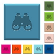 Binoculars engraved icons on edged square buttons in various trendy colors - Binoculars engraved icons on edged square buttons