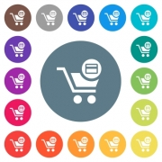 Credit card checkout flat white icons on round color backgrounds. 17 background color variations are included. - Credit card checkout flat white icons on round color backgrounds