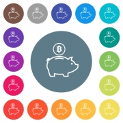 Bitcoin piggy bank flat white icons on round color backgrounds. 17 background color variations are included. - Bitcoin piggy bank flat white icons on round color backgrounds