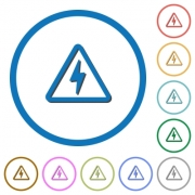 Danger electrical hazard flat color vector icons with shadows in round outlines on white background - Danger electrical hazard icons with shadows and outlines