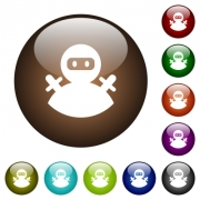 Ninja avatar white icons on round color glass buttons - Ninja avatar color glass buttons