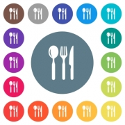 Restaurant flat white icons on round color backgrounds. 17 background color variations are included. - Restaurant flat white icons on round color backgrounds