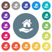Home insurance flat white icons on round color backgrounds. 17 background color variations are included. - Home insurance flat white icons on round color backgrounds