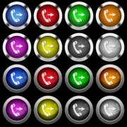 Outgoing phone call white icons in round glossy buttons with steel frames on black background. - Outgoing phone call white icons in round glossy buttons on black background