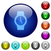 Watch icons on round color glass buttons - Watch color glass buttons