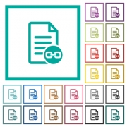 Document attachment flat color icons with quadrant frames on white background - Document attachment flat color icons with quadrant frames