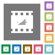 Movie adjusting flat icons on simple color square backgrounds - Movie adjusting square flat icons