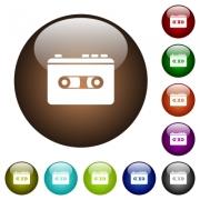 Vintage retro walkman white icons on round color glass buttons - Vintage retro walkman color glass buttons