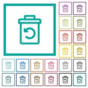 Undelete flat color icons with quadrant frames on white background - Undelete flat color icons with quadrant frames