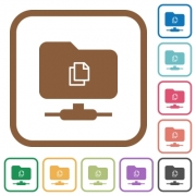 Copy remote file on FTP simple icons in color rounded square frames on white background - Copy remote file on FTP simple icons