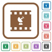 Movie broadcasting simple icons in color rounded square frames on white background - Movie broadcasting simple icons