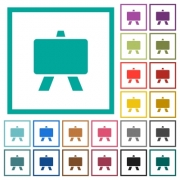 Blackboard flat color icons with quadrant frames on white background - Blackboard flat color icons with quadrant frames