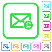 Copy mail vivid colored flat icons in curved borders on white background - Copy mail vivid colored flat icons