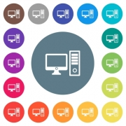 Desktop computer flat white icons on round color backgrounds. 17 background color variations are included. - Desktop computer flat white icons on round color backgrounds