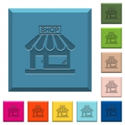 Store front engraved icons on edged square buttons in various trendy colors